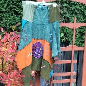 Jayli boho asymmetrical tie dye skirt elastic wais